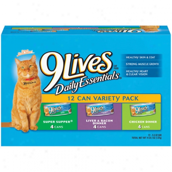 9 Lives Wet Daily Essentials Variety kP 5.5 Oz Cat Food, 12 Ct