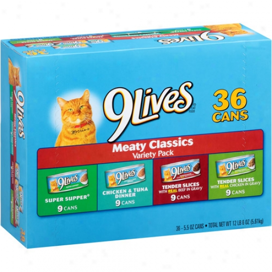 9lives Cat Food, Meaty Classics Variety Pack, 5.5 Oz, 36 Count