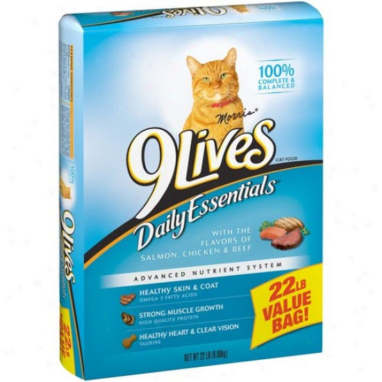 9lives Daily Essentials Cat Food, With Flavors Of Salmon, Chicken & Beef, 22 Lb