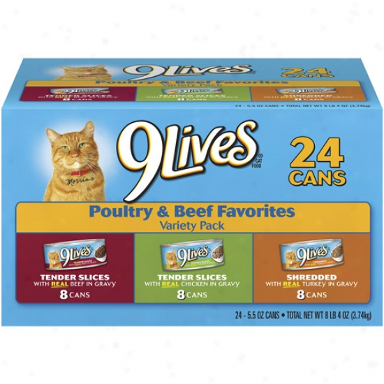 9lives Poultry & Beef Favotites Vatiety Pack Cat Food ,5.5 Oz, 24ct