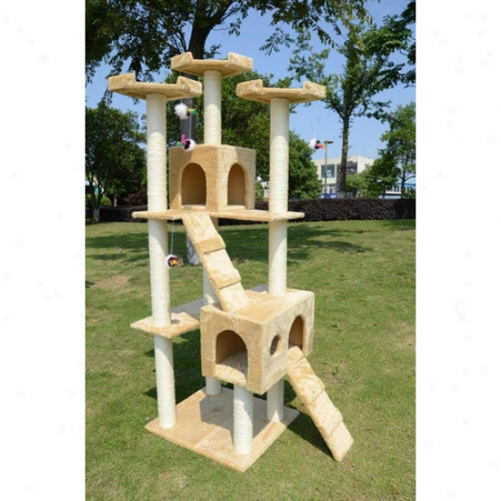 Aosom Llc 72'' Condo Scratcher Cat Tree