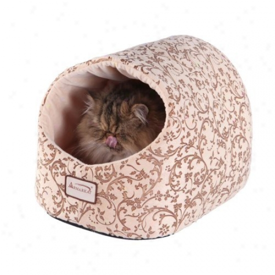 Armarkat Cat Bed - Beige With Flower Pattern