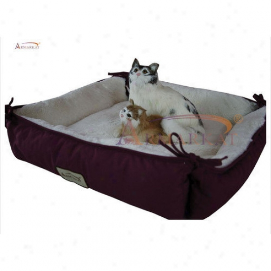 Armarkat Cat Bed In Burgundy And Ivory
