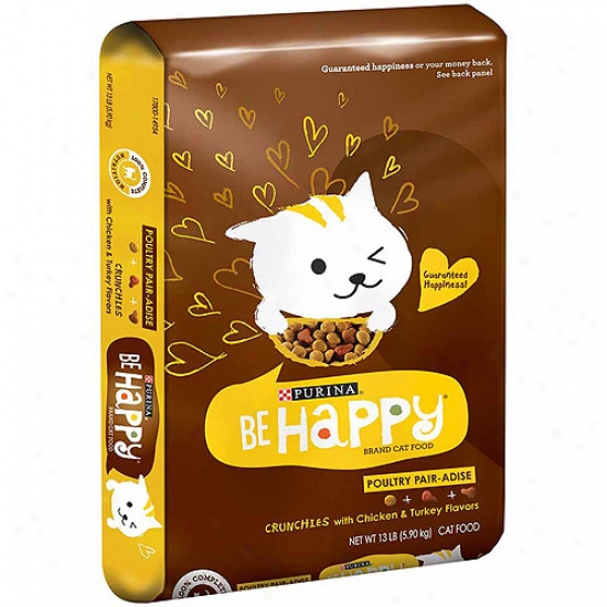 Be Happy Poultry Pair-dise Crunchies With Chicken And Turkey Flavors Cat Feed, 13 Lbs