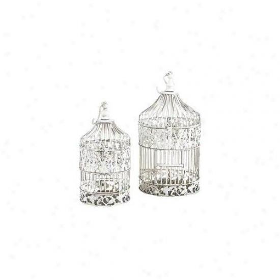 Benzara 82677 21. 5 Inch Set Of 2 White Metal Round Birds Cages