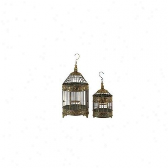 Benzara 90533 20 Inch X 14 Inch H Metal Bird Cage - Set Of 2