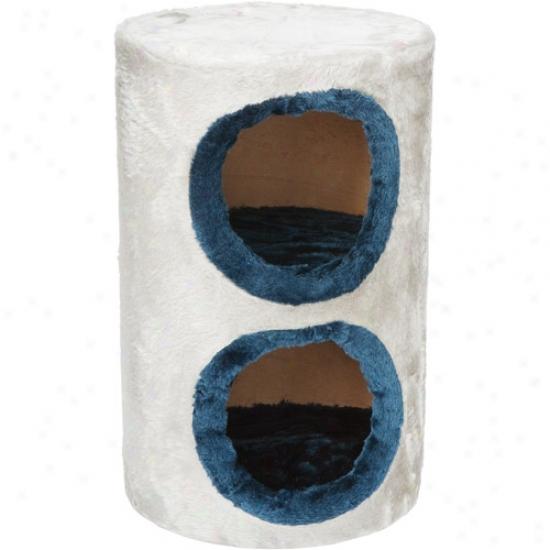 Cat Furniture 2 Falsehood Fur Condo - Grey Base/blue  Trim