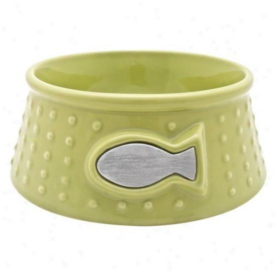 Catit Style Cerammic Dish Dot - Lime