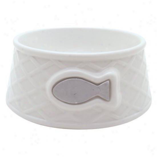 Catit Style Ceramic Dish Wdave - White