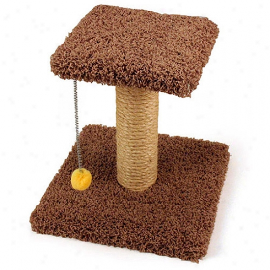 "Cozy Fondle 18"" Sisal Scratching Post With Perch & Swat Toy"