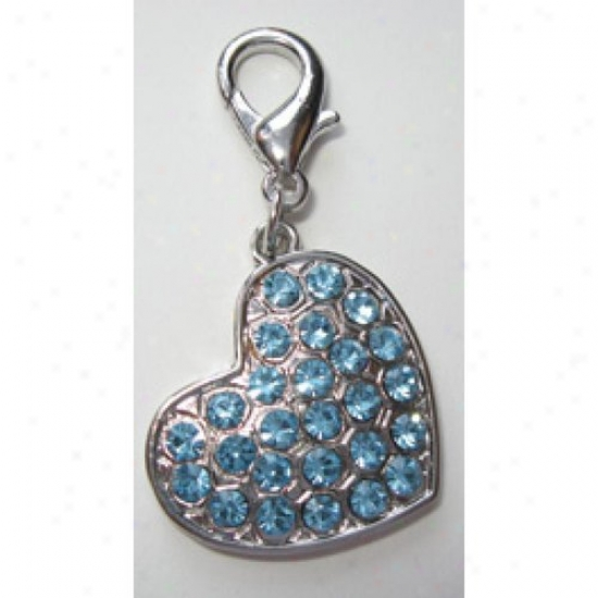 Diva-dog 4217480 Blue Crystal Heart Collar Charm