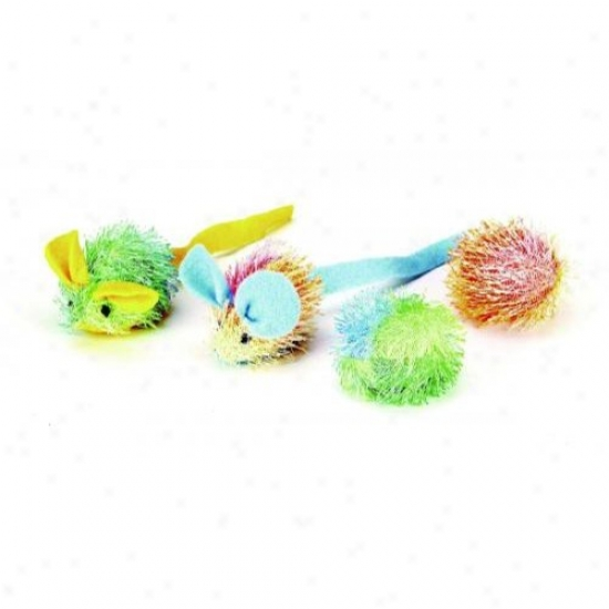 Ethical Cat 2505 Stringy Mice And Ball With Catnip