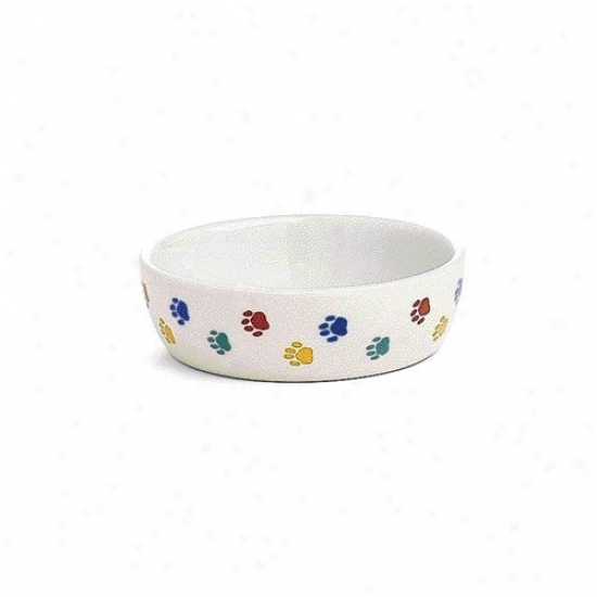 Ethical Pet Cat Paw Print Stoneware Dish