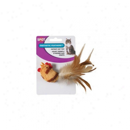 Ethical Pet Tiger Stripe With Feathers Chicken Cat Toy