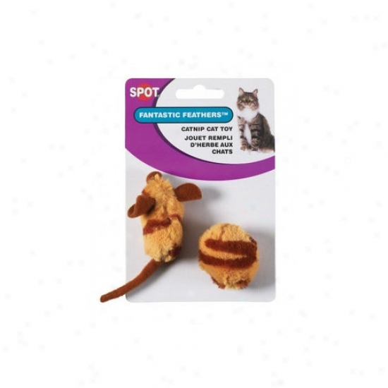 Ethical Pet Tiger Stripe With Feathers Mouse And Ball Cat Toy - 2 Pack