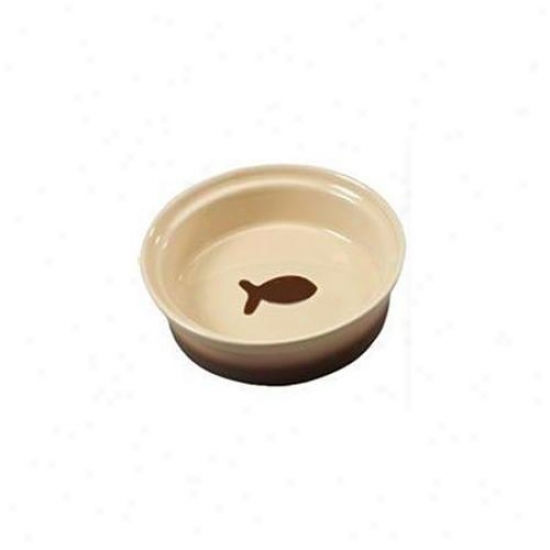 Ethical Stoneware Dish - Two Tone Sahara Cat Dish- Tapioca-nutmeg 5 Inch