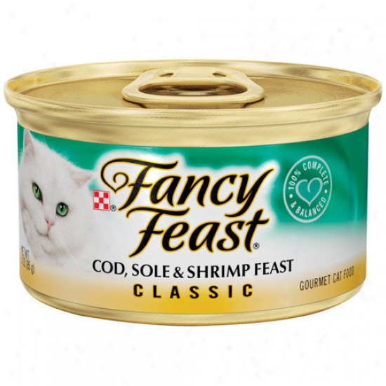 Fancy Feast Classic Cod Sole And Shrimp Wet Cat Food (3-oz Can, Case Of 24)
