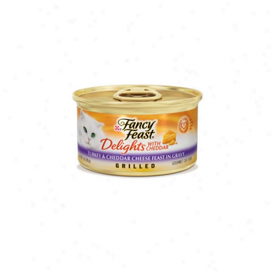Fancy Feast Delights Turkey And Cheddar Wet Cat Food (3-oz Can, Case Of 24)