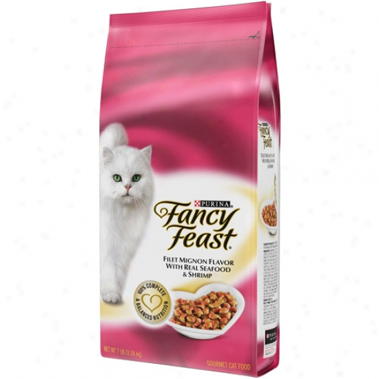 Fancy Feast Dry Filet Mignon With Real Seafood And Shrimp Cat Food, 7 Lbs