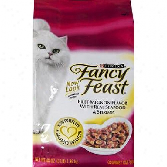 Fancy Feast Dry Gourmet Filet Mignon With Actual Seafood And Shrimp Cat Food, 48 Oz