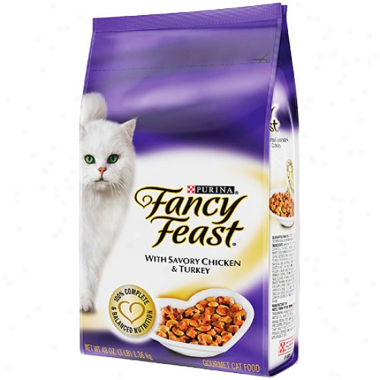 Fancy Feast Dry Gourmet With Savo5y Chicken And Turkey Cat Food, 48 Oz