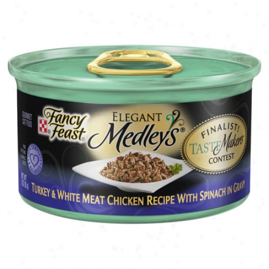Fancy Feast Elegant Medleys Canned Cat Food, Turkey And White Meat Chicken Recipe With Spinach In Gravy, 3 Oz