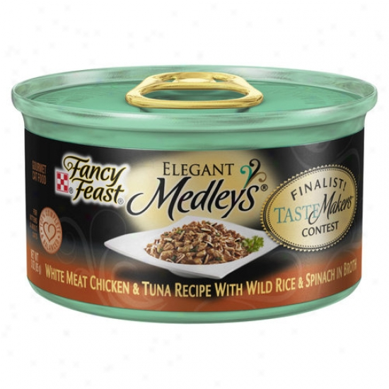 Fancy FeastE legant Medleys Canned Cat Food, White Food Chicken And Tuna Recipe In the opinion of Wild Rice And Spinach In Brkth, 3 Oz