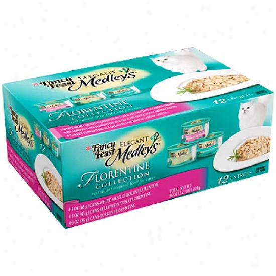 Fancy Eat  Polished Medleys Florentine Variety Pack Purina Canned Cat Food, 12pk Of 3oz Cans