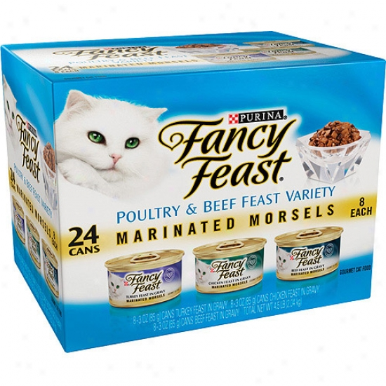 Fancy Feast Gourmet Poultry And Beef Feast Variety Marinate Morsels Cat Food, 3 Oz, 24-pack
