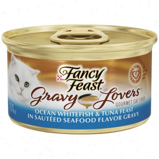 Caprice Feast Gravy Lovers Ocean Whitefish Tuna Wet Cat Food (3-oz Can,case Of 24)
