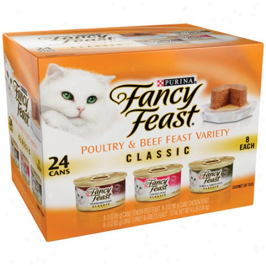 Fancy Feast: Poultry & Beef Feast Vaariety Classic Cat Food, 24 Ct