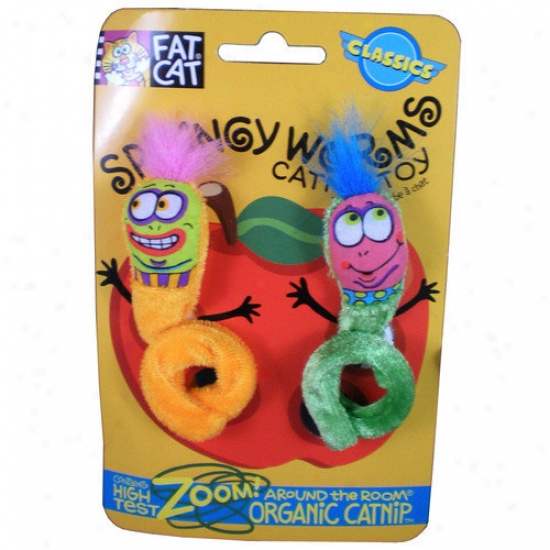Fat Cat Springy Worms Cztnip Cat Toys (set Of 3)