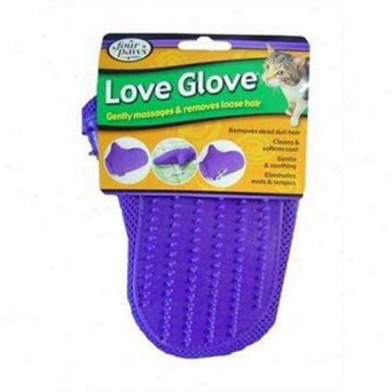 Four Paws 100202147/01844 Love Glove Grooming Mitt For Cats