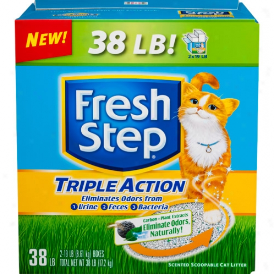 Fresh Step Triple Actio Odor Control Scoopable Cat Liter, Scented, 38 Lbs