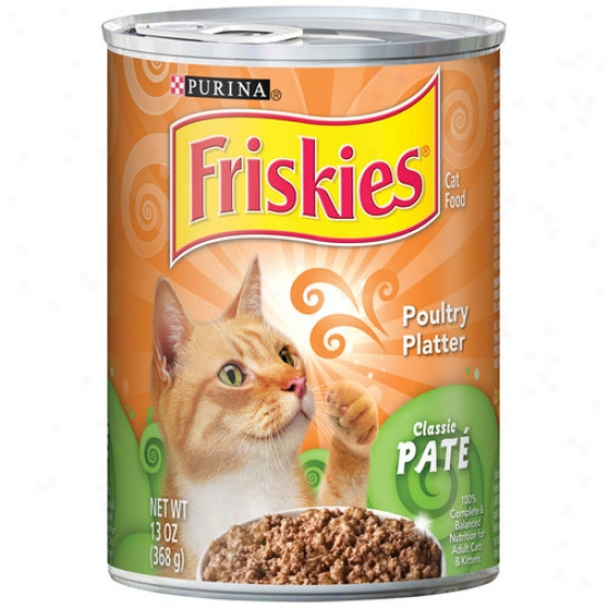 Friskiss Classic Pate Cat Food, Poultry Platter, 13 Oz