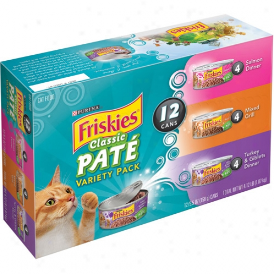 Friskies Classic Pate Variety Pack Canned Cat Aliment, 5.5 Oz, 12 Count