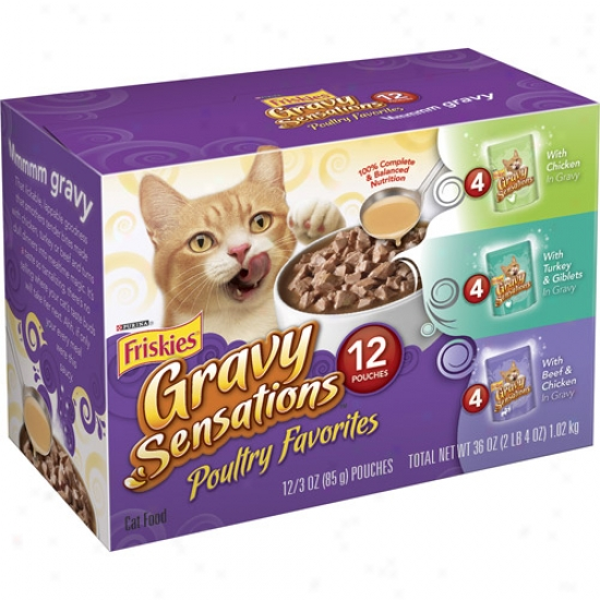 Friskies Gravy Sensations Poultry Favorites Variety Pack Canned Cat Food, 3 Oz, 12 Count