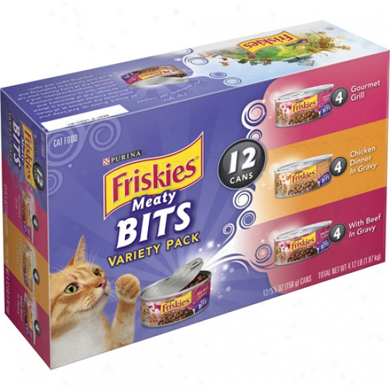Friskies Meaty Bits Variety Pack Canned Cat Food, 5.5 Oz, 12 Count
