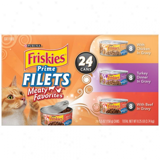 Friskies Prime Filets Turfin' Wet Cat Aliment Variety Pack (5.5-oz Can, Case Of 24)