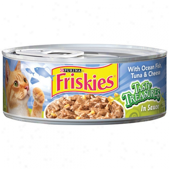 Friskies Tasty Treasures Ocean Fish, Tuna And Cheese Wet Cat Food (5.5-oz Can, Case Of 24)