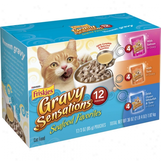 Friskies Wet Gravy Sensations Seafood Favorites Variety-pack Cat Food, 12-pack
