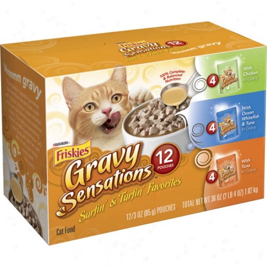 Friskies Wet Gravy Sensations Surfin' And Turfin' Favorites Variet-pack Cat Food, 12-pack