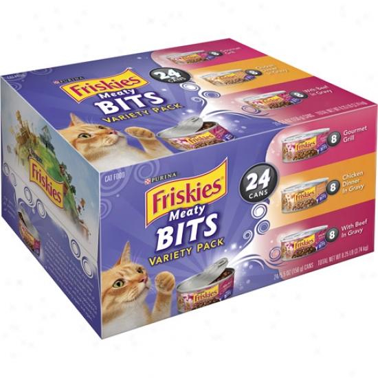 Friskies Wet Meaty Bits Variety-pqck Cat Food, 24-pack