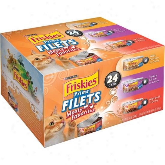 Friskies Wet Prime Filets Meaty Favorites Variety-pack Cat Food, 5.5 Oz, 24-pack