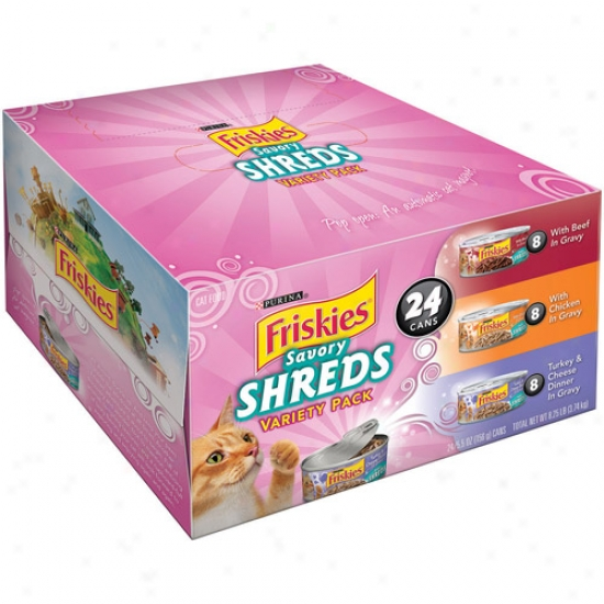 Friskies Wet Relishing Shreds Variety-pack Cat Feed, 5.5 Oz, 24-pack,