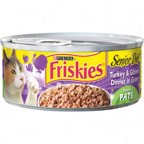 Friskies Wet Senior Diet Classic Pate Turkey & Tuna Dinner In Gravy Canned Cat Food, 5.5 Oz