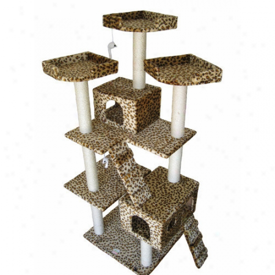 Walk Pet Club 72'' Cat Tree In Leopard