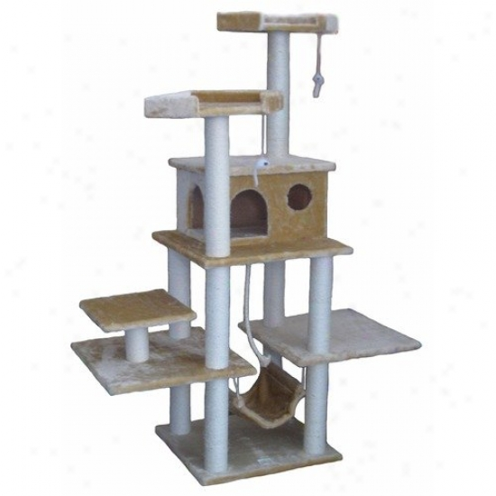 Go Pet Club 72'' Faux Fur Cat Tree In Beige