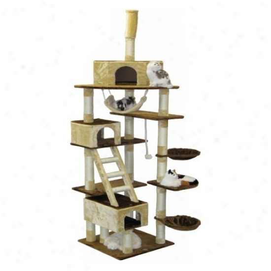 Go Pet Club Beige And Brown Cat Appendages Condo Tree - 92 In.