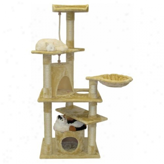 Go Pet Club Beige Cat Condo Furniture - 62 In.